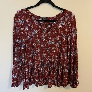 American Eagle floral blouse with peplum bottom
